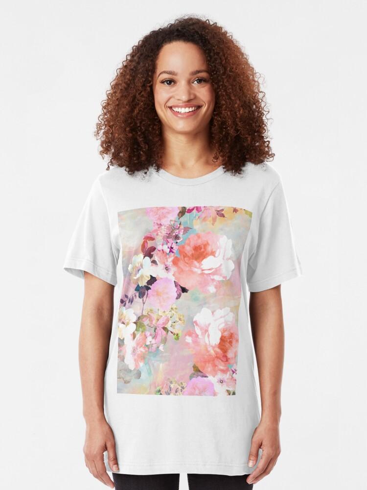 Alternative Ansicht von Romantisches rosa aquamarines Aquarell-schickes Blumenmuster Slim Fit T-Shirt