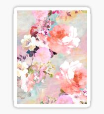 Romantic Pink Teal Watercolor Chic Floral Pattern Sticker
