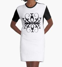 Butterfly Ballet First Position Scrollwork Graphic T-Shirt Dress