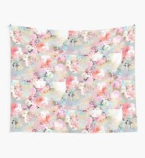 Romantic Pink Teal Watercolor Chic Floral Pattern Wall Tapestry