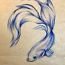 Blue Angel - Siamese Fighting Fish Oil pastel on Paper Drawing by Rebecca Rees