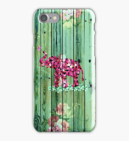 Flower Elephant Pink Sakura Green Striped Wood iPhone Case/Skin
