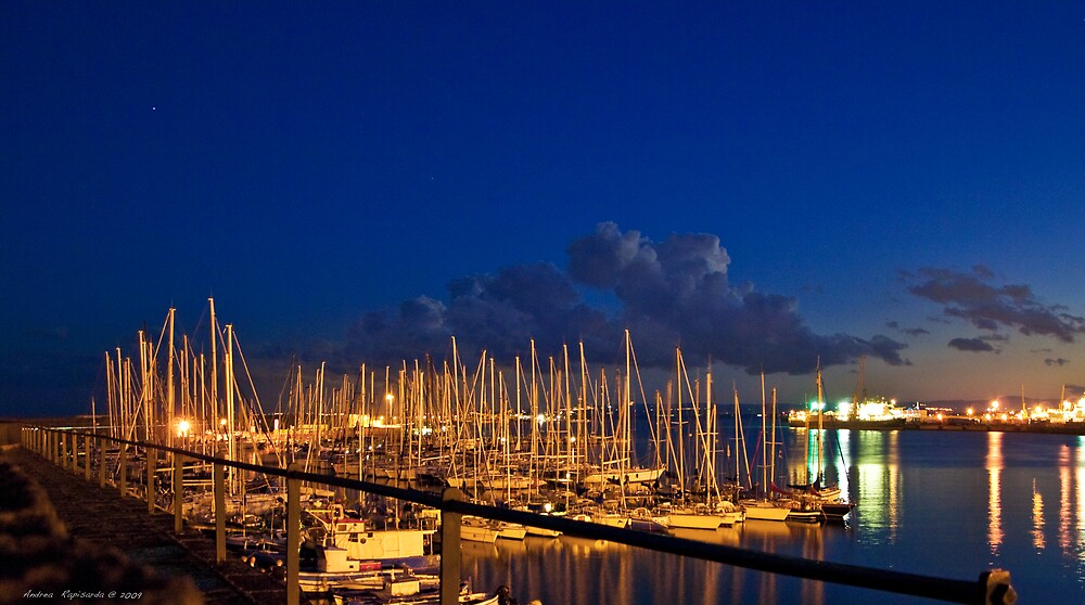 blue hour at the port of Catania by Andrea Rapisarda