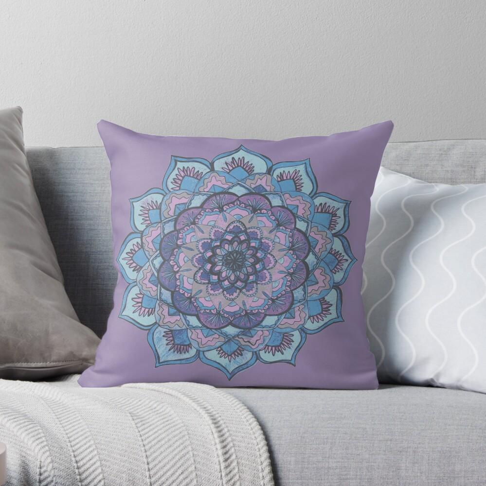 Purple and Blue Mandala  Throw Pillow
