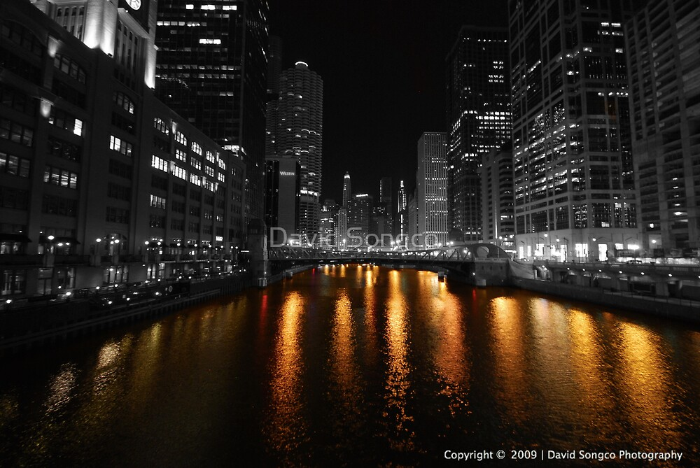 Chicago River by Night by David Songco