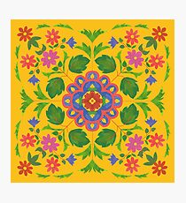 Floral Rangoli Pattern on Yellow Photographic Print