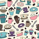 Seamless Background of Coffee and Tea by Pamela Maxwell