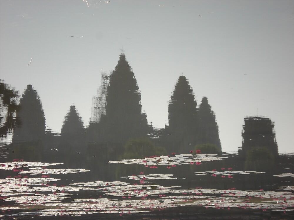 Ankor Wat - pool reflection as Monet by Rena77uk