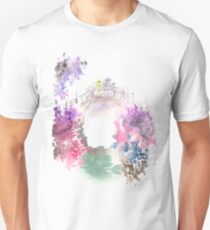 Watercolor drawing of blossoming spring garden. Unisex T-Shirt