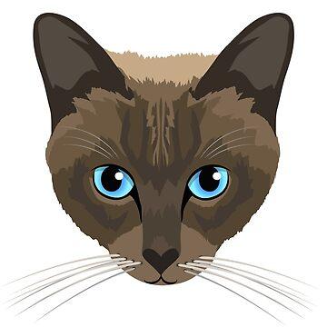 Chocolate Siamese cat by giddyaunt
