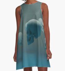 Dancing Blue Skulls A-Line Dress