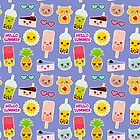 Hello Summer bright tropical seamless pattern, stickers. Pineapple, cherry smoothie cup, ice cream, sun, cat, cake, hamster. Kawaii cute face.  by EkaterinaP