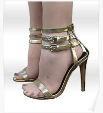 sexy female feet with golden high heel sandals Poster