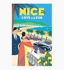 French Riviera Classic Vintage Travel Poster Photographic Print