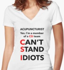 ACUPUNCTURIST Women's Fitted V-Neck T-Shirt