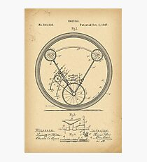 1897 Patent Velocipede Bicycle Unicycle history invention Photographic Print