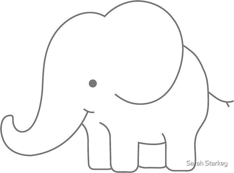 Cute Cartoon Elephant By Sarah Starkey Redbubble