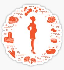 Pregnant woman and foods rich in vitamins. Sticker