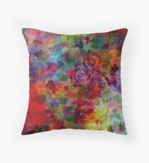 THROUGH ROSE-COLORED GLASSES Bold Rainbow Floral Multicolor Flower Garden Abstract Modern Painting Design Throw Pillow