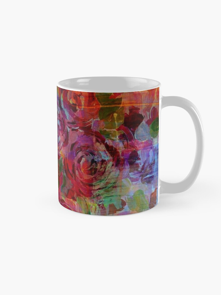 c00cf582385 THROUGH ROSE-COLORED GLASSES Bold Rainbow Floral Multicolor Flower Garden  Abstract Modern Painting Design   Mugs