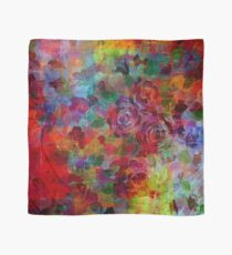 THROUGH ROSE-COLORED GLASSES Bold Rainbow Floral Multicolor Flower Garden Abstract Modern Painting Design Scarf