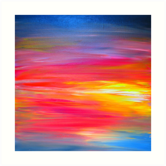 BRIGHT HORIZONS Colorful Rainbow Bold Multicolor Ombre Red Pink Yellow Blue Sunrise Sunset Abstract Painting By