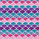 trendy summer purple pink turquoise blue mermaid scales by lfang77