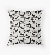Mini Donkey, Big World (Sand) Throw Pillow