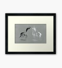 Blinding Darkness: Dark and Light Minimal Abstract Gel Pen Horses Framed Print