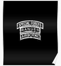 Army Special Forces Ranger Airborne Triple Stack Tab Poster