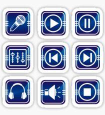 Blue audio icons Sticker set.  Sticker