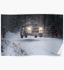 Subaru Rally Car Flying Through The Snow Poster