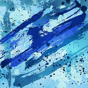 Abstract painting with blue brush strokes by urbania