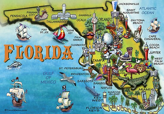 Cartoon Map of Florida by Kevin Middleton