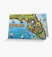 Cartoon Map of Florida Greeting Card