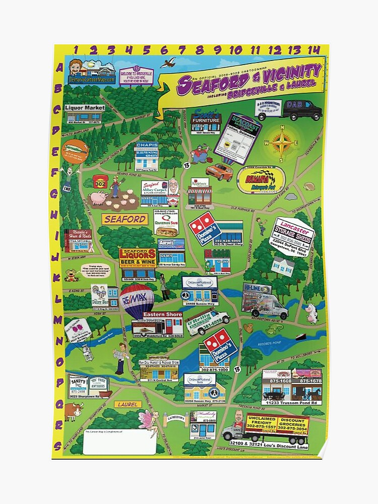 Seaford, Delaware Cartoon Map   Poster on flushing meadows corona park map, hampshire map, worcester county map, norfolk map, new castle map, newport map, salisbury map, spencerport map, portsmouth map, ward's island map, oxford map, new rochelle map, dover map, sag harbor map, island park map, cambridge map, islandia map, garden city map, gloucester map, hastings map,