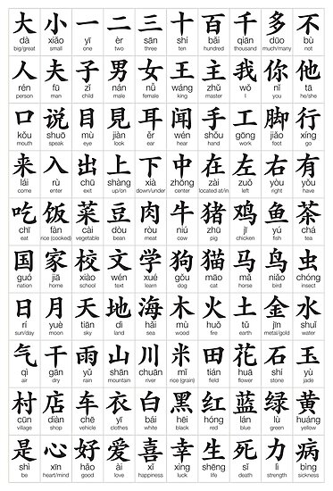 Quot 100 Most Common Chinese Characters Quot Poster By Suranyami Redbubble