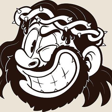 Winking retro cartoon Jesus by memoangeles