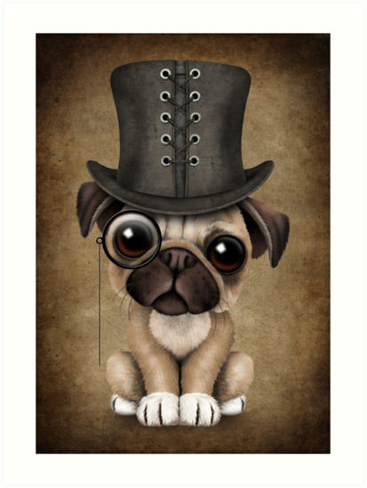 8ce23cc1336 Cute Pug Puppy Dog with Monocle and Top Hat