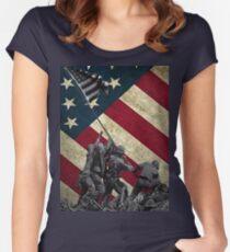 Iwo Jima American Flag  Women's Fitted Scoop T-Shirt