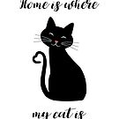 Home Is Where My Cat Is (black) by StarfireStudio