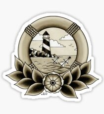 Traditional Tattoo Lighthouse & Ship Wreck Sticker