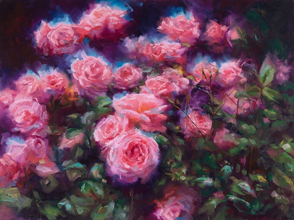 Out of Dust - pink roses by Talya Johnson