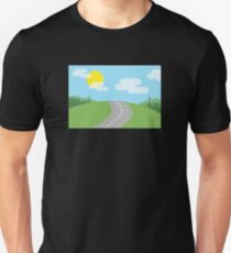 Landscape Nature Road Sun Clouds Meadow Grass Unisex T-Shirt