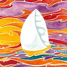 Polynesian sunset sail boat by Andrea England