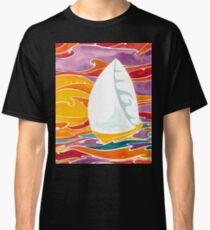 Polynesian sunset sail boat Classic T-Shirt