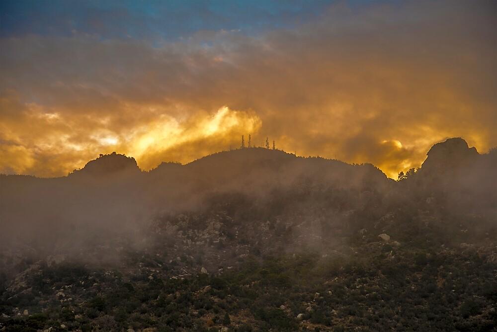 Sandia Mountain Fire Sunrise by IOBurque