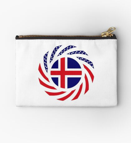 Icelandic American Multinational Patriot Flag Series Zipper Pouch