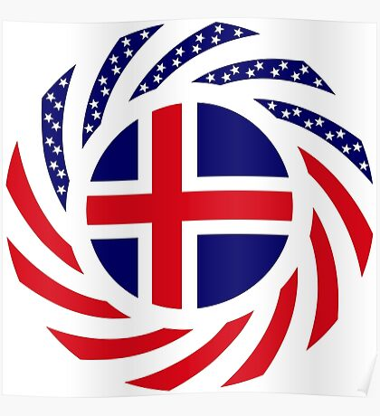 Icelandic American Multinational Patriot Flag Series Poster