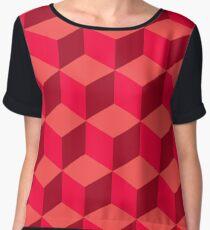abstract cube pattern red seamless tile Chiffon Top